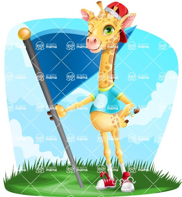 Funny Giraffe Cartoon Vector Character - Shape 9