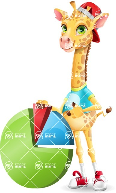 Funny Giraffe Cartoon Vector Character - with Business graph