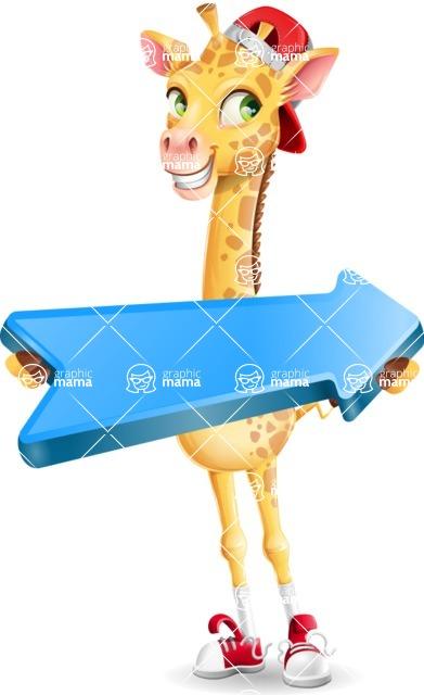 Funny Giraffe Cartoon Vector Character - with Positive arrow
