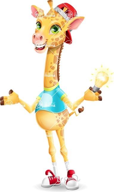 Funny Giraffe Cartoon Vector Character - with an Idea