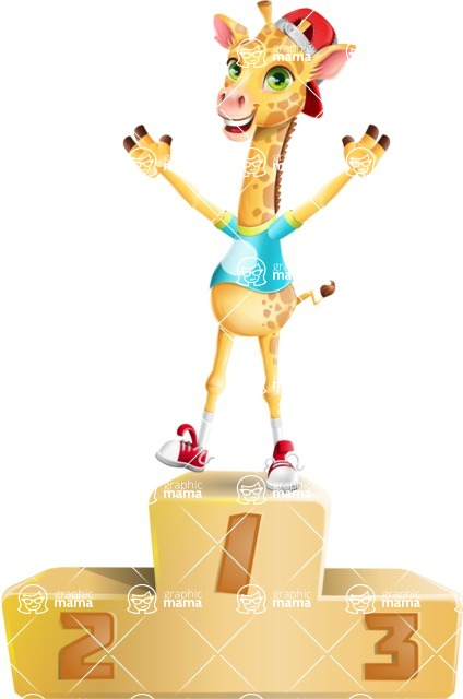 Funny Giraffe Cartoon Vector Character - with Success on Top