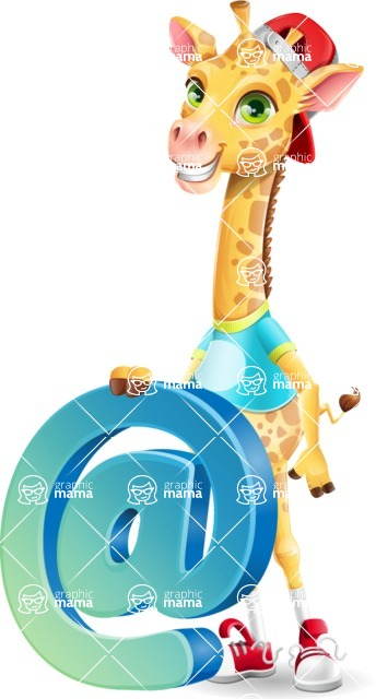 Funny Giraffe Cartoon Vector Character - with Email sign