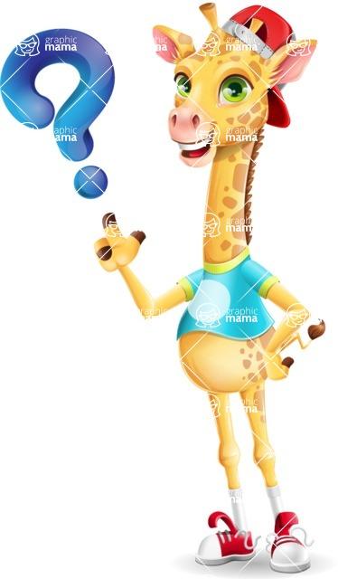 Funny Giraffe Cartoon Vector Character - with Question mark