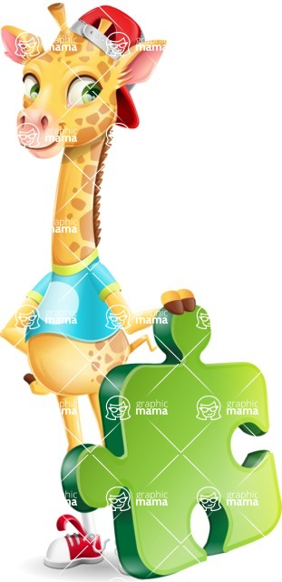 Funny Giraffe Cartoon Vector Character - with Puzzle