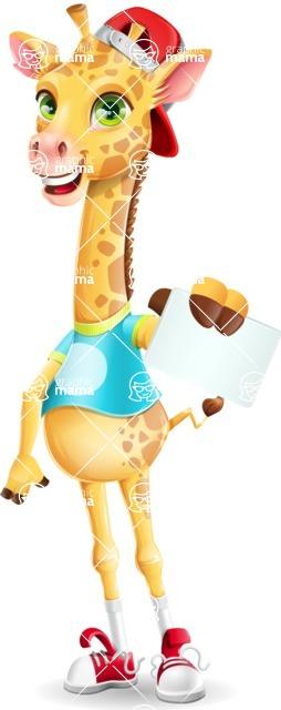 Funny Giraffe Cartoon Vector Character - with a Blank Business card