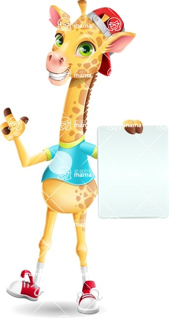 Funny Giraffe Cartoon Vector Character - with a Blank paper