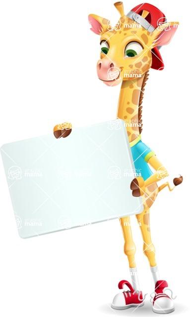 Funny Giraffe Cartoon Vector Character - Holding a Blank sign