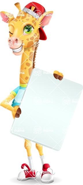 Funny Giraffe Cartoon Vector Character - Holding a Blank banner
