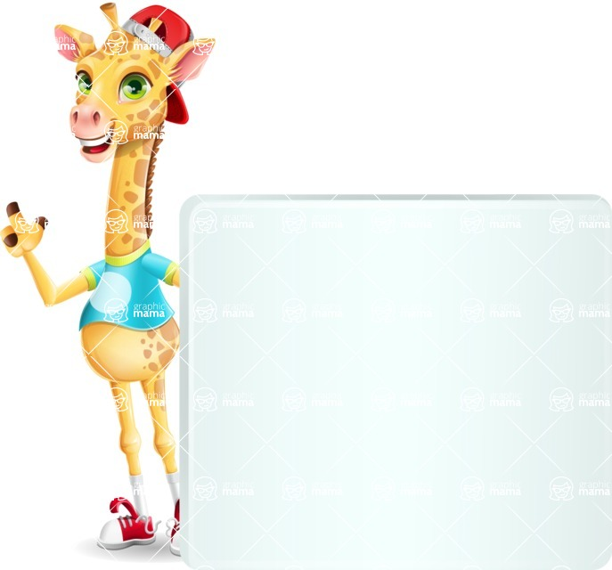Funny Giraffe Cartoon Vector Character - Holding a Blank sign and Pointing