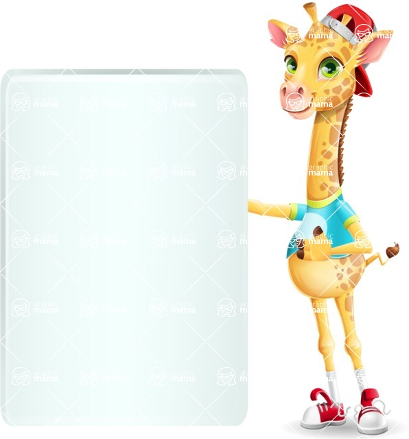 Funny Giraffe Cartoon Vector Character - Showing Big Blank banner