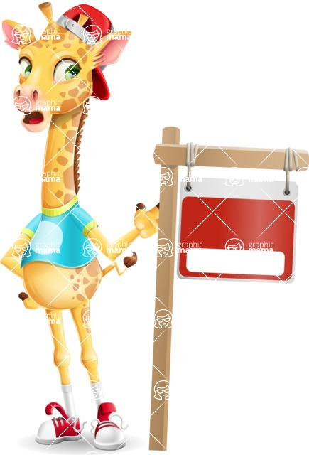 Funny Giraffe Cartoon Vector Character - with Blank Real estate sign