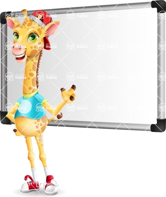 Funny Giraffe Cartoon Vector Character - Making a Presentation on a Blank white board