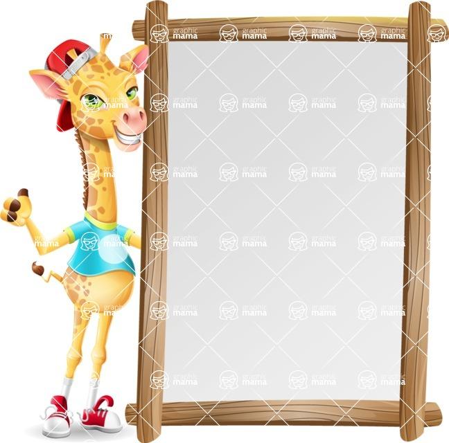 Funny Giraffe Cartoon Vector Character - Making peace sign with Big Presentation board