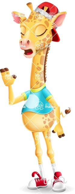 Funny Giraffe Cartoon Vector Character - Feeling Bored