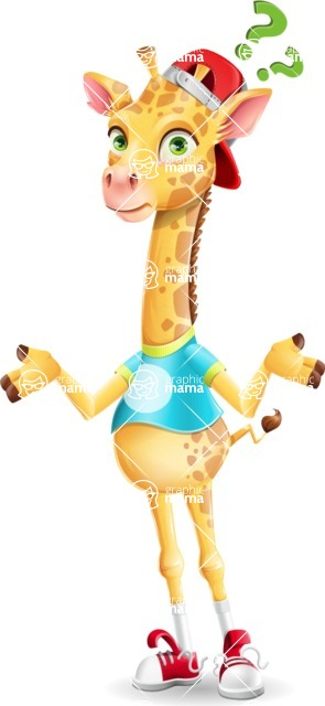 Funny Giraffe Cartoon Vector Character - Feeling Confused