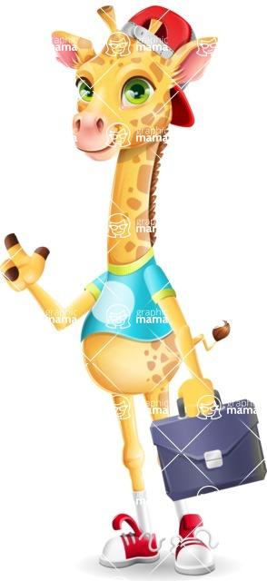 Funny Giraffe Cartoon Vector Character - Holding a briefcase