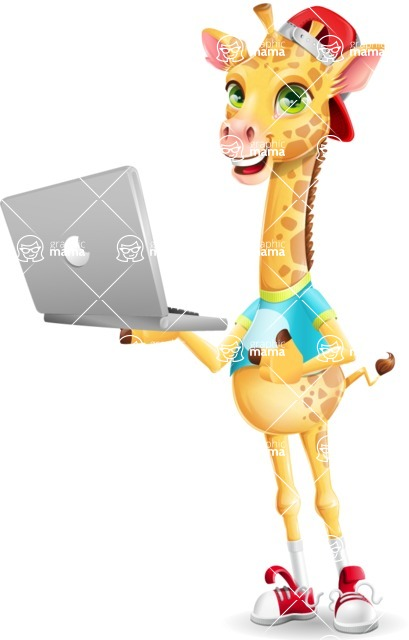 Funny Giraffe Cartoon Vector Character - Holding a laptop