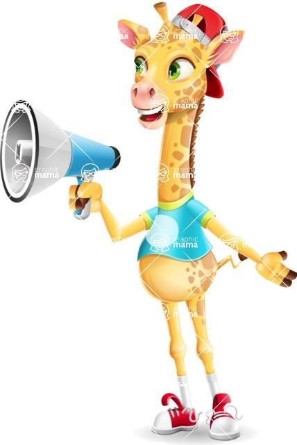 Funny Giraffe Cartoon Vector Character - Holding a Loudspeaker