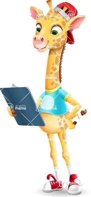 Funny Giraffe Cartoon Vector Character - Holding a notepad