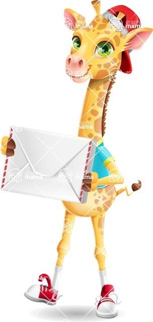 Funny Giraffe Cartoon Vector Character - Holding mail envelope