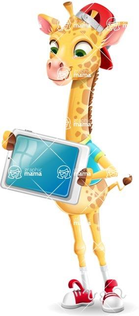 Funny Giraffe Cartoon Vector Character - Holding tablet