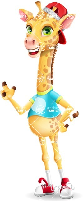 Funny Giraffe Cartoon Vector Character - Making a point