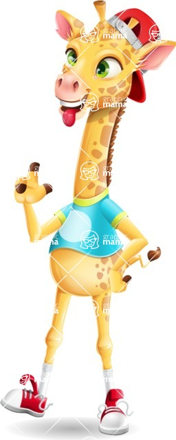 Funny Giraffe Cartoon Vector Character - Making Funny face