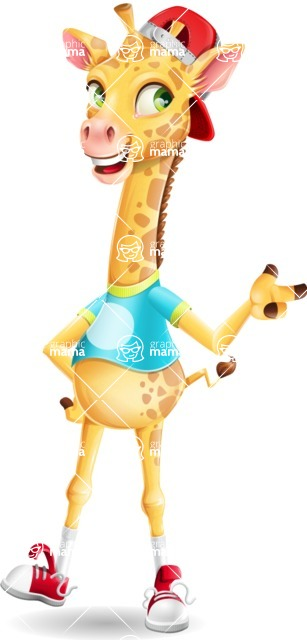 Funny Giraffe Cartoon Vector Character - Pointing with left hand