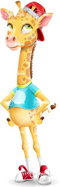 Funny Giraffe Cartoon Vector Character - Rolling Eyes