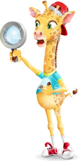 Funny Giraffe Cartoon Vector Character - Searching with magnifying glass