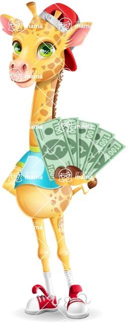 Funny Giraffe Cartoon Vector Character - Show me the Money