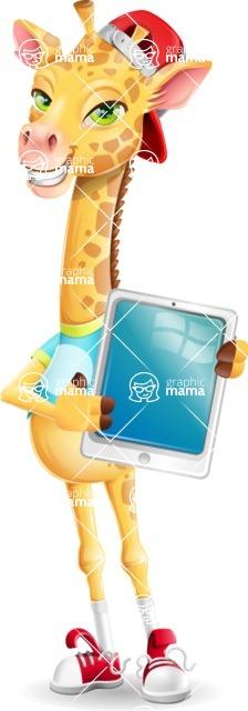 Funny Giraffe Cartoon Vector Character - Showing tablet