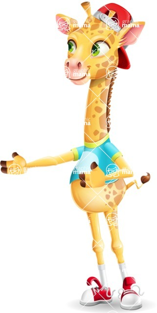 Funny Giraffe Cartoon Vector Character - Showing with right hand