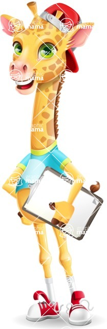 Funny Giraffe Cartoon Vector Character - Smiling and holding notepad