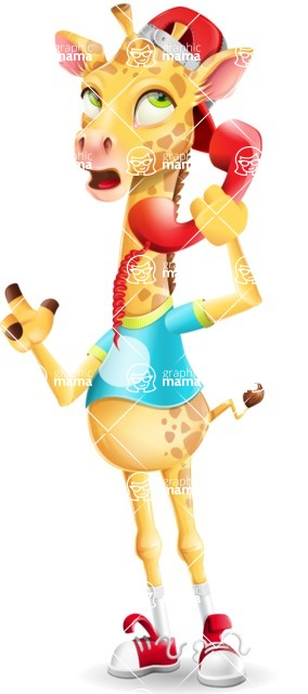 Funny Giraffe Cartoon Vector Character - Talking on phone