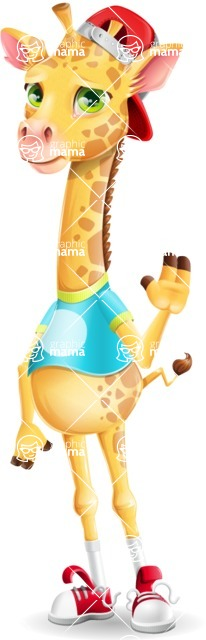 Funny Giraffe Cartoon Vector Character - Waving for Goodbye with a hand