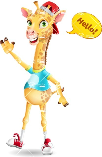 Funny Giraffe Cartoon Vector Character - Waving for Hello with a hand