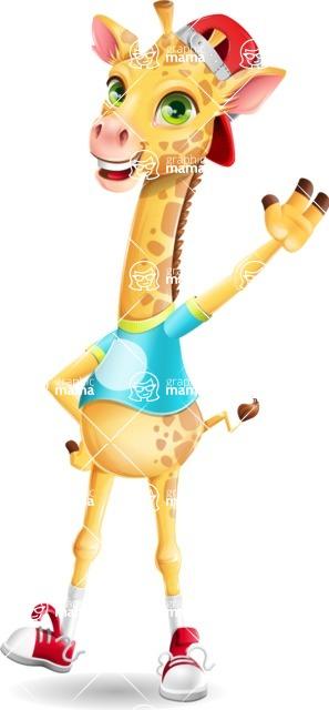 Funny Giraffe Cartoon Vector Character - Waving