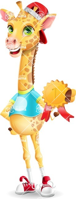 Funny Giraffe Cartoon Vector Character - Winning prize