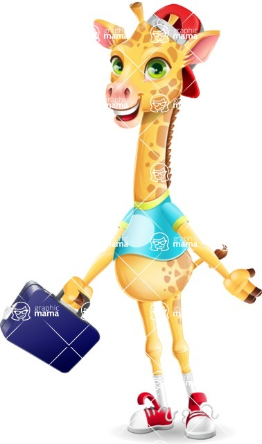 Funny Giraffe Cartoon Vector Character - with Briefcase