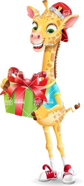 Funny Giraffe Cartoon Vector Character - with Gift box