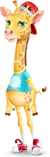 Funny Giraffe Cartoon Vector Character - with Sad face