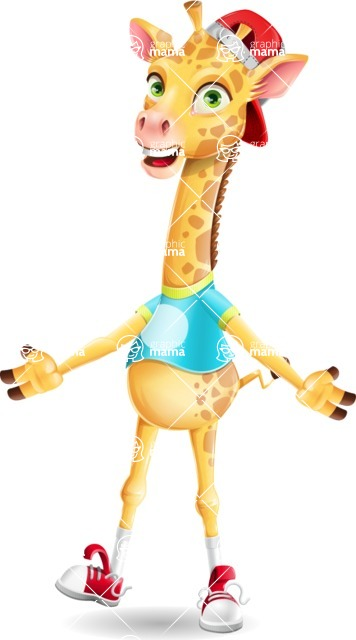 Funny Giraffe Cartoon Vector Character - with Stunned face