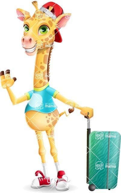 Funny Giraffe Cartoon Vector Character - with Suitcase