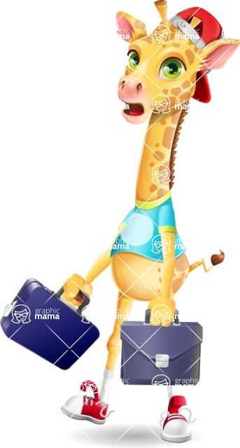 Funny Giraffe Cartoon Vector Character - with Two briefcases