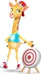 Funny Giraffe Cartoon Vector Character - with Target