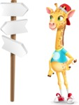 Funny Giraffe Cartoon Vector Character - on a Crossroad with sign pointing in all directions
