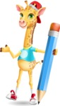 Funny Giraffe Cartoon Vector Character - Holding Pencil