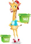 Funny Giraffe Cartoon Vector Character - with Sale boxes