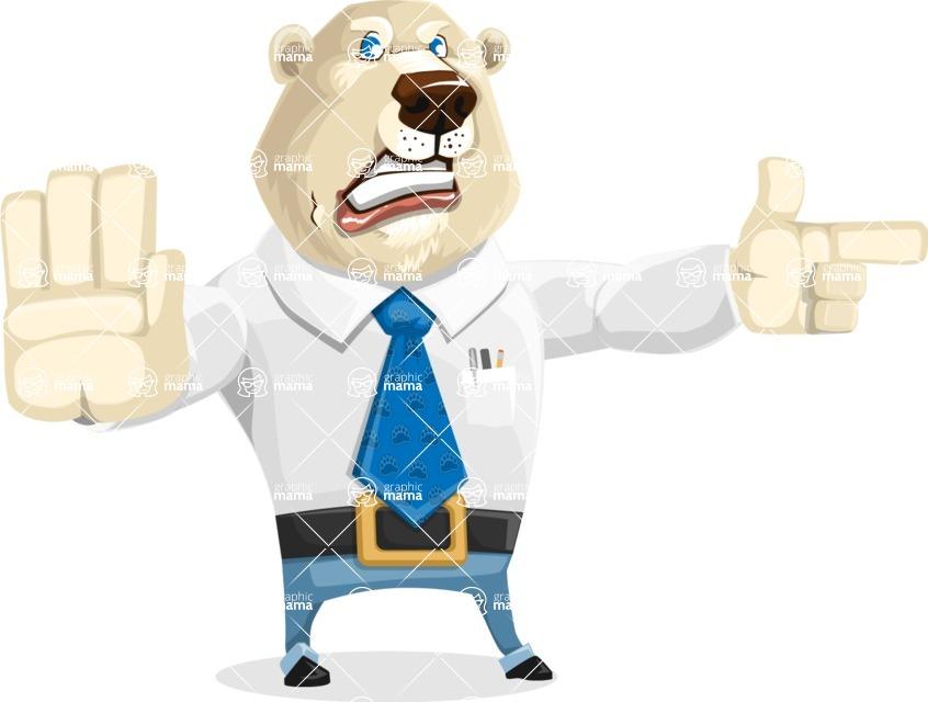 Polar Bear Cartoon Character - Direct Attention